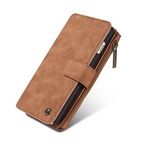 iPhone XS max Case,Magnetische Abnehmbare Premium Luxus PU-Leder Retro Vintage Stand Smart Zipper Brieftasche Folio Schutzhülle mit Kartensteckplatz Halter und Geldtasche für 6,5'' iPhone XS max - Luxus-leder-stand