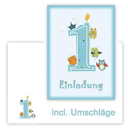 MK-Decor 12 Einladungskarten Kindergeburtstag zum 1. Geburtstag in blau mit Eulen, incl. passender Umschläge - Geburtstagseinladung mit Eule für Jungs Kinder-Party - Geburtstagsfeier