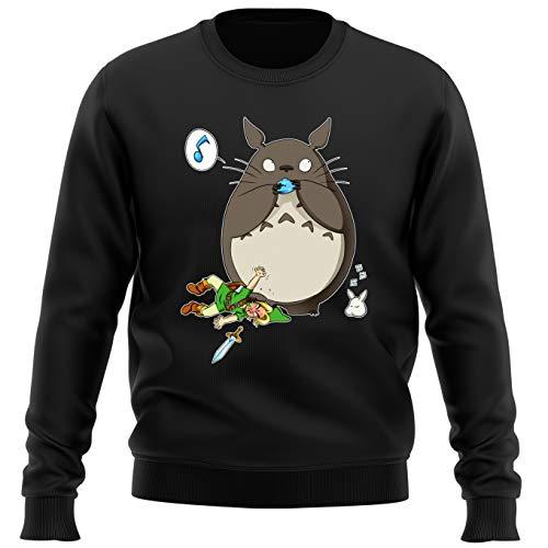 OKIWOKI Pull Noir Zelda parodique Totoro et Link : Ni Vu ni connu. (Parodie Zelda)