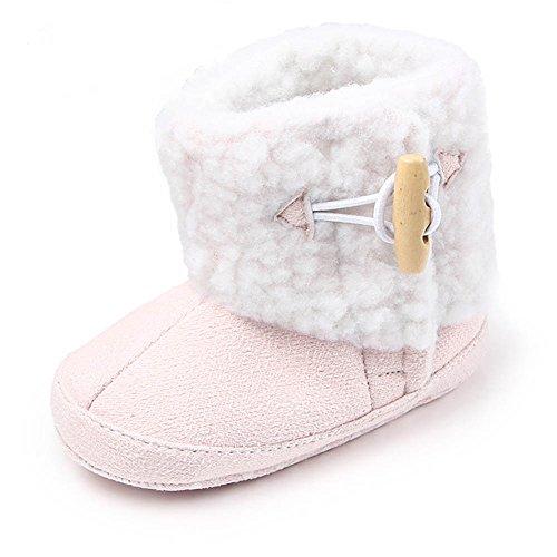 TININNA Unisexe Bébé Fille Garçon Hiver Garder au Chaud doux Sole Bottes de Neige Coton Bottines Molle Berceau Chaussures Enfant Bottes Adapté pour 9-11 mois bébé Rose