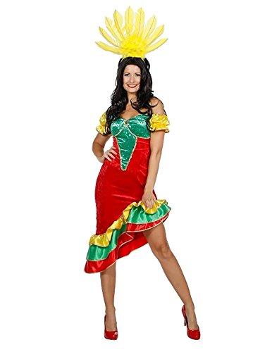 Wilbers Sambakostüm Rio Brasilien Brasilianerin Kostüm Flamenco Karneval Fasching Damen Rot/Grün/Gelb - Karneval Kostüm Brasilien