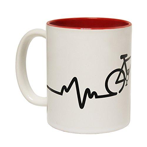 Mugs 123t Vélo Pulse Slogan Tasse en céramique, Céramique, rouge