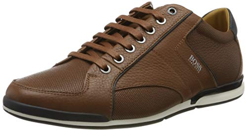 BOSS Herren Saturn_Lowp_tbpf1 Sneaker, Braun (Medium Brown 212), 45 EU - Leder Hugo Braun Boss