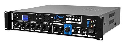 PYLE PT730U 375W PA Amplifier with 5 Mic Inputs, Mic Talk-Over Function, USB/SD Card Readers, AUX Input, FM Radio
