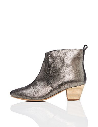 find. Stivaletti Western in Pelle Donna, Grigio (Dusted Metallic Dusted Metallic), 36 EU
