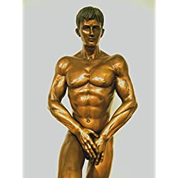 FINE ARTS Wohnkultur Skulptur,Bronze,Figur,Statue,Mann,Akt,Erotik,Deko,Men,120cm,Adonis (Brown)