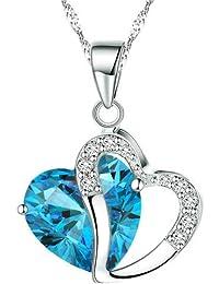 Boolavard Collier avec pendentif en forme de cœur et cristal autrichien + coffret cadeau