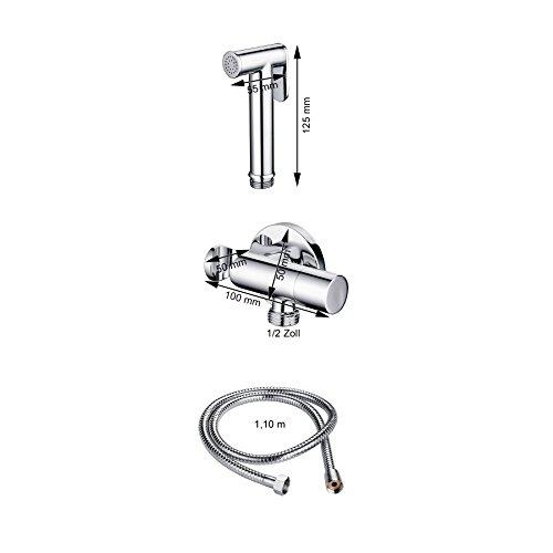 Burgtal 17601 Fia Bidet Kaltwasser Armatur Set AS-04 inkl. Arabic Shower und Schlauchbrause