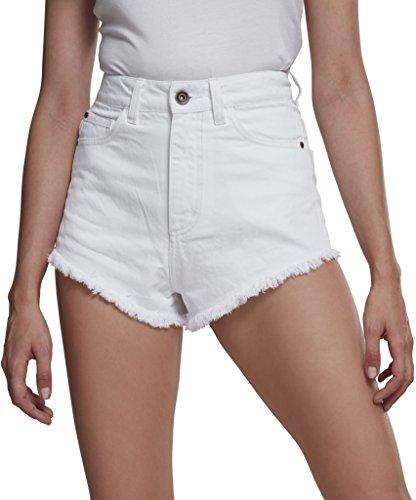 Urban Classics Damen Shorts Ladies Denim Hotpants, Weiß (White 00220), 36 (Herstellergröße: 27)