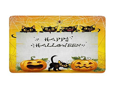 FREEZGTZ Fußmatte Black Cats Halloween Fußmatte Anti-Rutsch Eingangsmatte Boden Teppich Indoor Haustür Matten