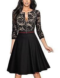 Miusol Damen Elegant Spitzen Abendkleid Reißverschluss vorne Knielang Cocktailkleid Schwarz Gr.S-XXL