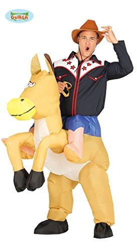 aufblasbarer Pferdekostüm Wilder Westen Cowboy Dick Kostüm Tierkostüm für Erwachsene, Größe:L