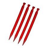ToCi 4er Pack Kunststoff Zeltheringe 30cm lang Heringe mit Haken und Öse in Rot