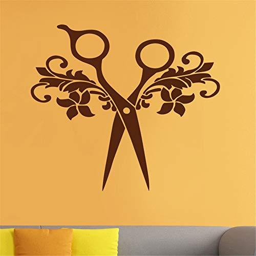 zlhcich Salon Aufkleber Scissor Aufkleber Hair Barber Shop Poster Vinyl Wandkunst Aufkleber Haarschnitt Wanddekor Dekoration Wandbild Salon Aufkleber40 * 45 cm