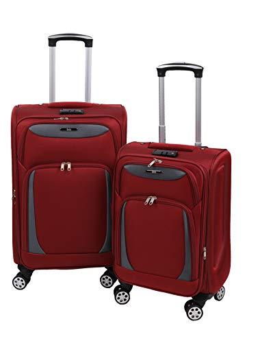 Betz 2 TLG. Reisekoffer Trolly Set einen Reisekoffer einen Handgepäck Stoffkoffer Rollkoffer Teleskop Boardcase mit TSA Schloss und Leichtlaufrollen Farbe rot grau
