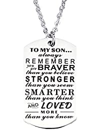 Galaxia Air Dog Tag From Dad Boys Necklace Military Chain Air Force Pendant Pendant Necklace Family Friend Gift Unisex To My Son Always Remember You are Braver Stronger Smarter than you think