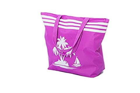Beach Bag Womens Large Summer Canvas Tote Bags Zip Closure 40 x 33 x 16 CM Palm Tree Pattern Airee Fairee (Purple)