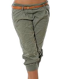 Dihope Femme Pantalon Court 3 4 Sarouel Pantacourt Legging Casual Eté  Confortable Chino Short Mode 21b6d9580f8