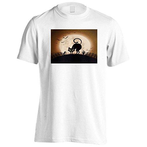 GLÜCKLICHE HALLOWEEN-KATZE LUSTIGE NEUHEIT Herren T-Shirt j90m