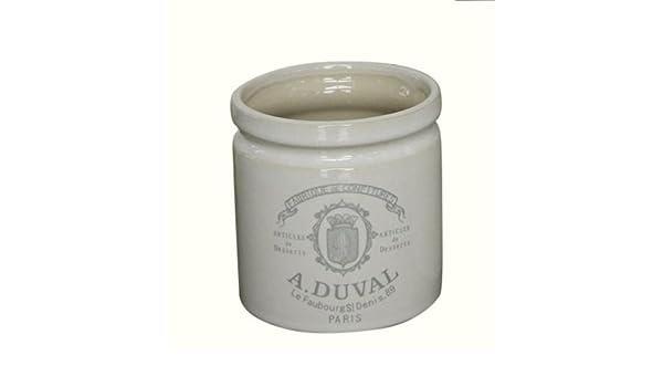 "Duval/"" Keramik alt weiß Dekotopf Keramiktopf Blumentopf mit Aufdruck /""A"