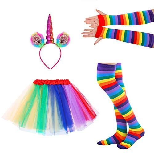 LUOEM Regenbogen Tutu Rock Anzug Cosplay Kostüm mit Stirnband Arm Warmer Bein Strumpf Rüschen Tiered Tutus Kleid für Erwachsene Karneval Party