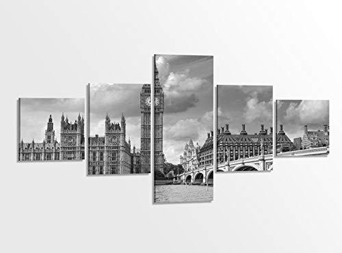 Leinwandbild 5 tlg. 200x100cm schwarz weiß London Skyline Brücke Stadt Westminster Bridge Bilder Druck auf Leinwand Bild Kunstdruck mehrteilig Holz gerahmt 9AB1108