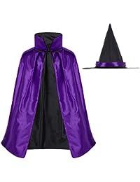 Alvivi Capa de Bruja Usada en 2 Lados Halloween Cosplay Carnaval Disfraz para Adultos Niños+