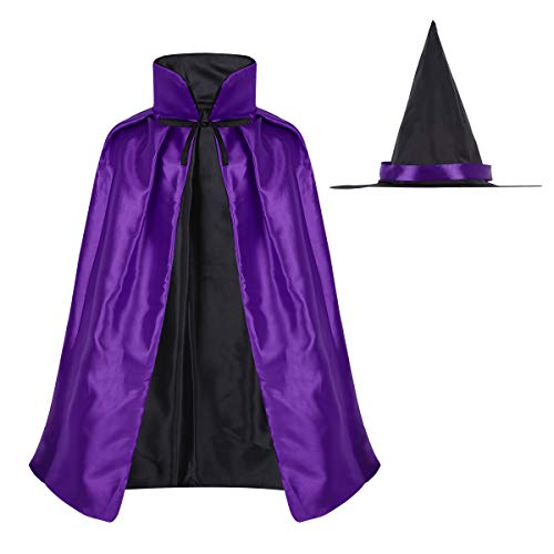 YiZYiF Kinder Magier Umhang mit Hexenhut Hexer Kinderkostüm Zauberer-Kostüm für Halloween Unisex Cape Fasching Cosplay Verkleidung One Size Violett One Size