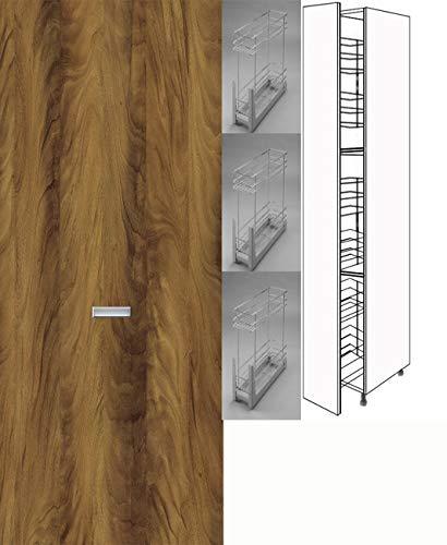 Premium-Ambiente CHD107 Hochschrank Apothekerschrank 207cm hoch Vollauszug Softclosing eingelassener Griff FE (Breite 20cm, 38 Ribera Nussbaum)