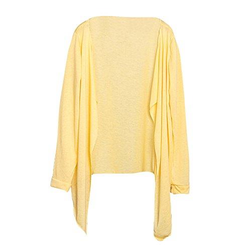 iYmitz Sommer Damen Lange Dünne Strickjacke Modal Sonnenschutz Kleidung Tops(Gelb 1,Free)