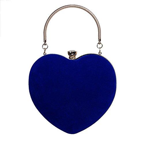 Frau Wildleder Herzform Abendtasche Mini-Kupplungen Hochzeit Party Geldbörse. (16 X 25 Cm) blue
