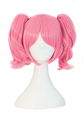 Lolita Perücke (MapofBeauty Lolita rosa kurze gerade geheftet auf Pferdeschwanz Cosplay Perücke)
