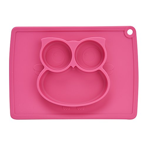 Baby Suction Plates, Mini Silicone Place Mats For Kitchen Table Fit Most High Chair Trays Kids Feeding Bowl Child Stick Placemats Set Kidlife (Red)