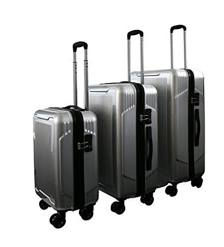 Reisekoffer Trolley silber Hartschale Reise Koffer Handgepäck M L XL Set 4 Doppelrollen TSA-Schloss (SET (M+L+XL))