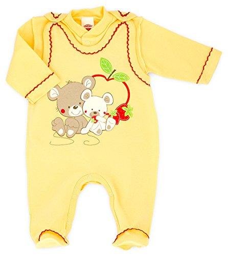MAKOMA Baby Erstausstattung Unisex Strampler-Set mit Langarmshirt -Sito- (Gelb, 56)