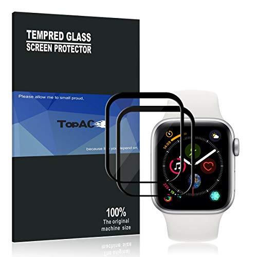 Protector de Pantalla Apple Watch Series 4 44MM TopACE 3D Full Coverage Cristal Vidrio Templado Protector de Pantalla para Apple Watch Series 4 44MM(2 Pack)