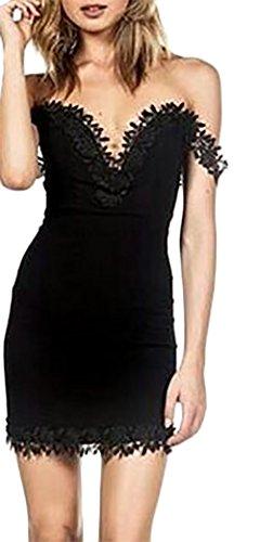 Kleider Damen Abendkleider Kurz Rückenfrei Trägerlos V Ausschnitt Mit Ärmeln Figurbetont Partykleid Cocktailkleid Schwarz