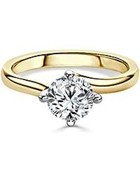 2,00 Ct corte redondo anillo de compromiso de diamantes Moissanite 14 K oro amarillo