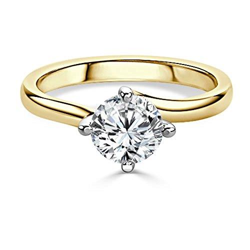 2,00ct Runde Schnitt Diamant Engagement Hochzeit Ringe 14K Solid Gelb Gold Größe I, J, K L M N O P Q R