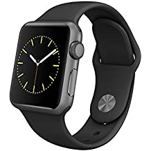 Apple Watch Sport Smartwatch mit Gehäuse aus Aluminium silber von 38mm und Armband Sport Schwarz