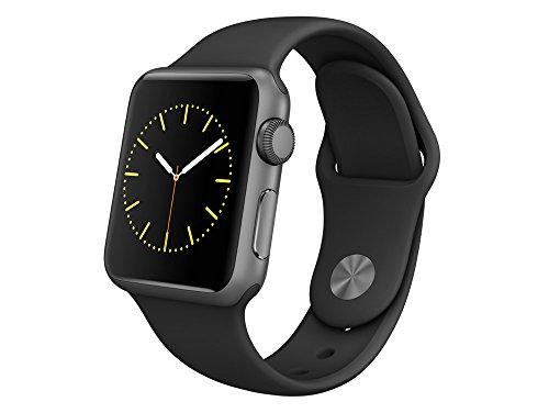 Apple Watch Sport, 38 mm, GPS, Aluminium Gehäuse, Space Grau mit Sport-Armband, Schwarz, 2015