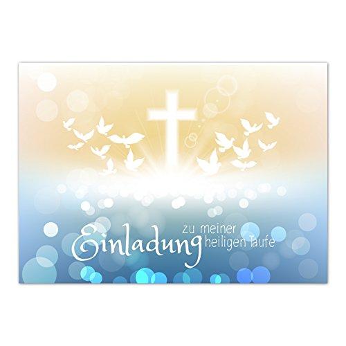 15 x Einladung zur Taufe / Einladungskarten mit Umschlag im Set / Motiv: Zauberhafter Verlauf Tauben / Baby Taufkarte / Grußkarte / Postkarte /