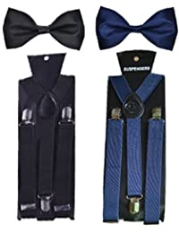 COCO CHANEL Unisex Silk Stretchable Suspender with Bow Combo (Navy Blue and Black, PlainSet_8)