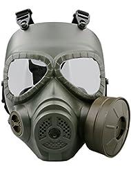 A-szcxtop Tatical Paintball máscara de cara completa protección CS juego de guerra Cosplay juegos al aire libre protección máscara suave y de trabajo anti impacto con ventilador de escape, verde