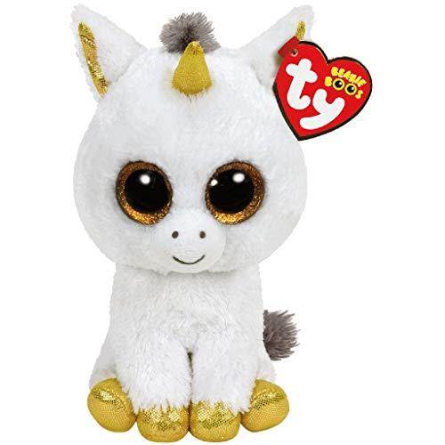 "Beanie Boo Unicorn - Pegasus - White/Gold -  15cm 6"""