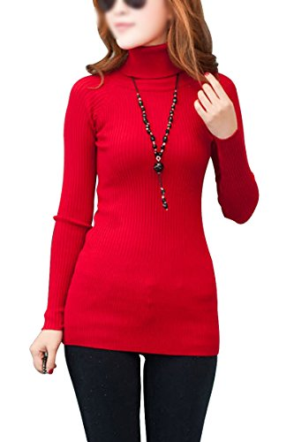 TOOGOO(R) TOOGOO(R)Damen Baumwollmischungs Rollkragenpullover Langarm gestrickt Pullover rot