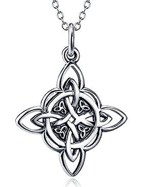 Silver Mountain 925 Sterling Silber Keltische Triquetra Dreieinigkeits-Knoten-gutes Glück-hängende Halskette,...