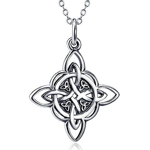 Silver Mountain 925 Sterling Silber Keltische Triquetra Dreieinigkeits-Knoten-gutes Glück-hängende Halskette, 18