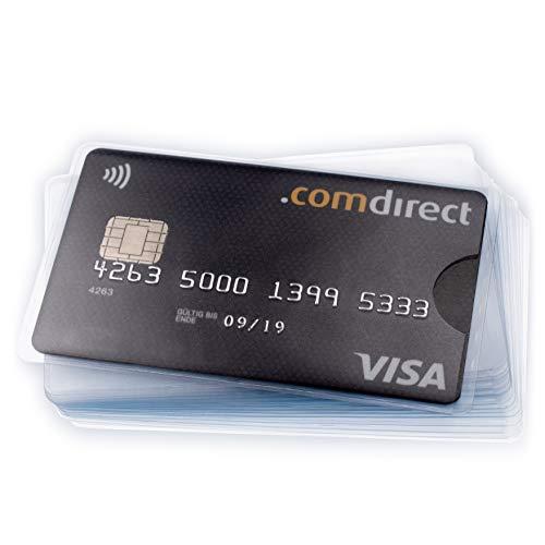 20 x FABACH Kreditkartenhülle - Karten Schutzhülle zum Schutz von EC Karte, Bankkarte, Ausweis - transparent und flexibel - extra dünner Kunststoff für Flache Geldbörse -