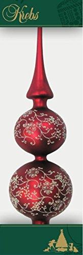 Doppia punta per albero di Natale con decorazioni, 33cm rosso opaco